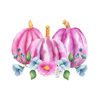 Akwarela ilustracja bukiet niebieskich róż i gałązek z fioletowymi dyniami