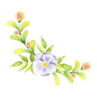 Akwarela ilustracja bukiet niebieskich róż i gałązek.