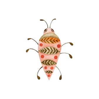 Akwarela ilustracja chrząszcza w stylu boho na białym tle owad