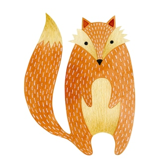 Akwarela ilustracja cub lisa izolowany na białym tle