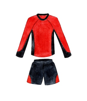 Akwarela ilustracja czerwono-czarnego munduru piłkarskiego z długimi rękawami sportowa koszulka i szorty