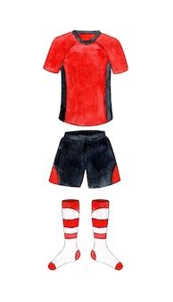 Akwarela ilustracja czerwono-czarnego munduru piłkarskiego z legginsami sportowa koszulka i szorty