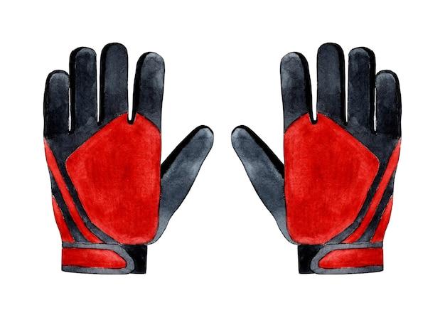 Akwarela ilustracja czerwonych rękawic bramkarskich do piłki nożnej bramkarz strój sportowy