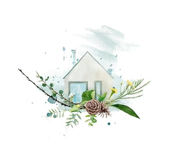 Akwarela ilustracja domku letniskowego na białym tle