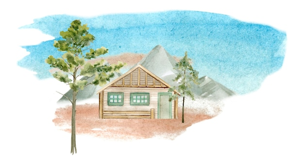 Akwarela ilustracja domku letniskowego