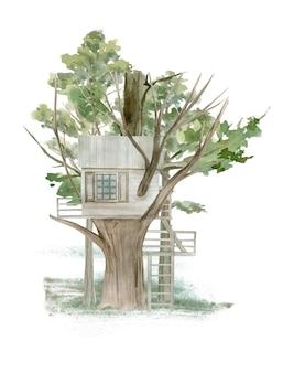Akwarela ilustracja domku na drzewie w lesie.