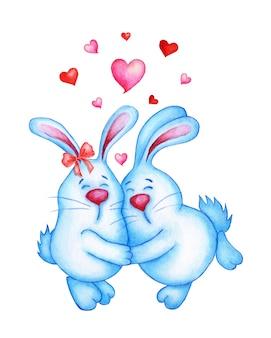Akwarela ilustracja dwa słodkie niebieskie króliki są w sobie zakochane. zające dziewczynka i chłopiec przytulanie rysunek dla dzieci, wielkanoc lub 14 lutego. na białym tle. rysowane ręcznie.