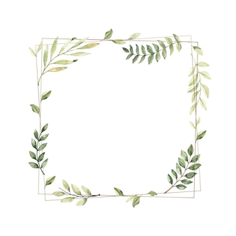Akwarela ilustracja. geometryczna złota rama z gałęziami botanicznymi i liśćmi. zieleń.