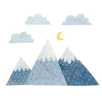 Akwarela ilustracja góry izolowany na białym tle