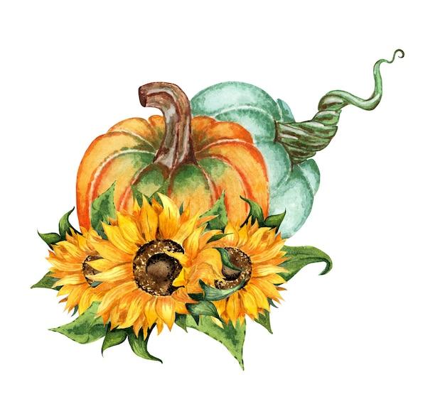 Akwarela ilustracja jesienna kompozycja kwiatów dwóch dyni i słonecznika dożynki