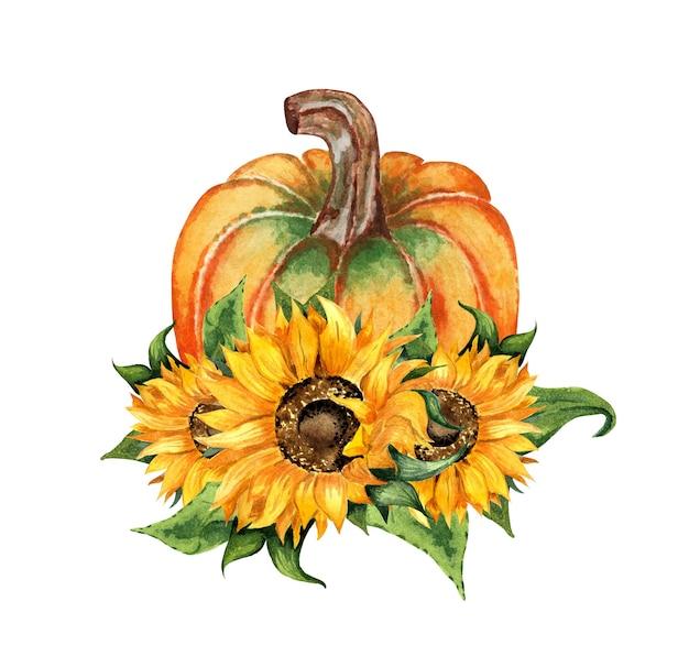 Akwarela ilustracja jesienna kompozycja kwiatów dyni i słonecznika dożynki