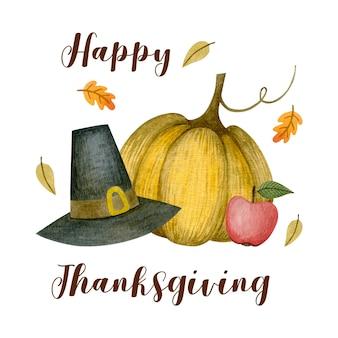 Akwarela ilustracja kartkę z życzeniami na święto dziękczynienia