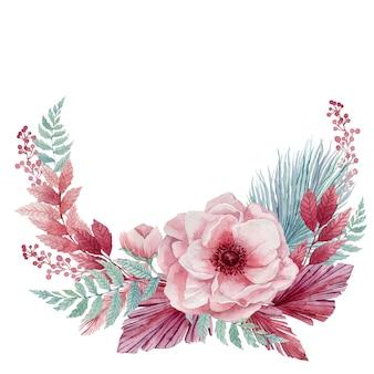 Akwarela ilustracja kwiatów delikatny anemon i niebieskie gałązki tropikalne. wieniec z różowych kwiatów i niebieskich liści palmowych.