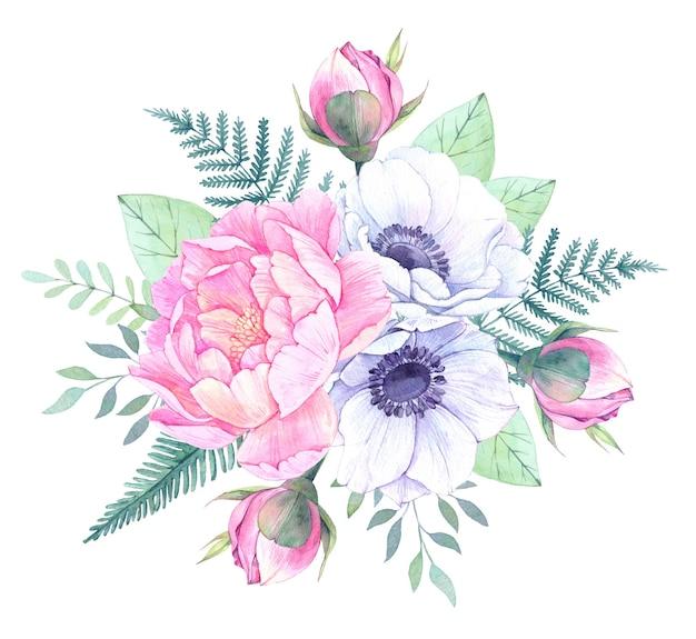 Akwarela ilustracja kwiatowy. bukiet z piwoniami, kwiatami anemonowymi, liśćmi