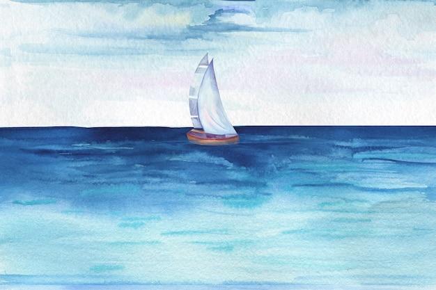 Akwarela ilustracja latarni morskiej stojącej na skale na morzu lub oceanie wśród fal