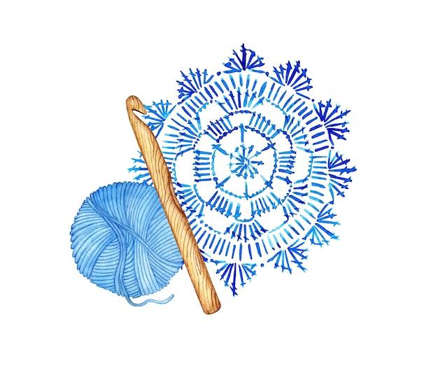 Akwarela ilustracja niebieskiej serwetki na szydełku i motek rzemiosła kreatywności na tapetę