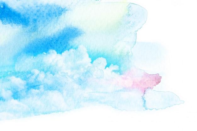 Akwarela ilustracja niebo z chmurą.