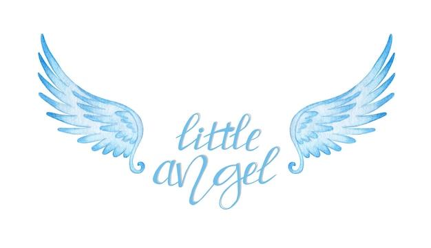 Akwarela ilustracja odręcznego niebieskiego tekstu małego aniołka i skrzydeł ręka napis na plakat