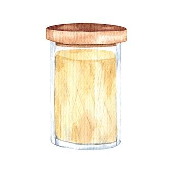 Akwarela ilustracja przechowywanie żywności w szklanych słoikach na produkty luzem z drewnianą pokrywą naczynia kuchenne izolowany element