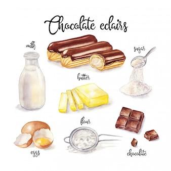 Akwarela ilustracja przepis eklerów. składnik do gotowania