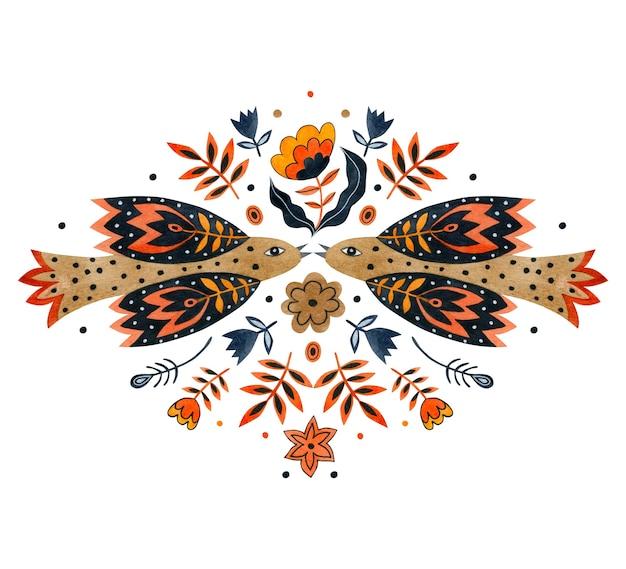 Akwarela ilustracja ptaka i kwiatów w sztuce ludowej