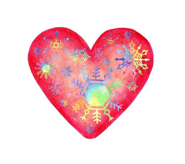 Akwarela ilustracja różowe serce ozdobione tęczowymi płatkami śniegu