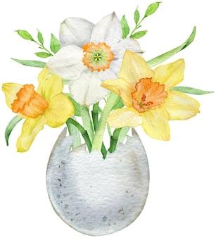Akwarela ilustracja wesołych świąt. wiosenne kwiaty w skorupce jajka. żółte żonkile w wazonie na białym tle
