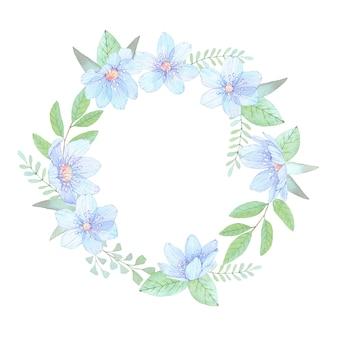 Akwarela ilustracja. wieniec kwiatowy z liśćmi i niebieskimi kwiatami.