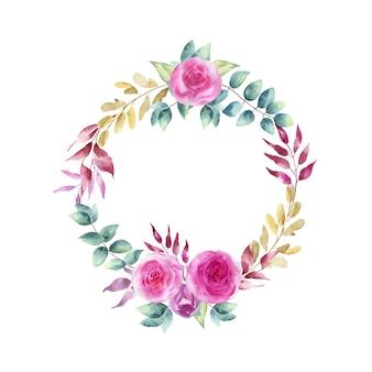 Akwarela ilustracja wieniec z niebieskich róż i gałązek.