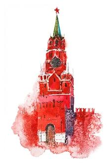 Akwarela ilustracja wieża spasskaya