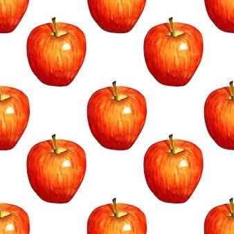 Akwarela ilustracja wzór czerwone jabłko bezszwowe powtarzające się owoce nadruku ekologiczne owoce zdrowa żywność