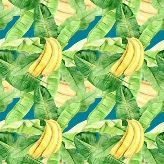 Akwarela ilustracja wzór liści palmowych tropikalnych bananów i owoców