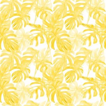 Akwarela ilustracja wzór monstera żółty tropikalny liść.