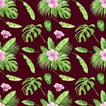 Akwarela ilustracja wzór tropikalnych liści i kwiat hibiskusa.