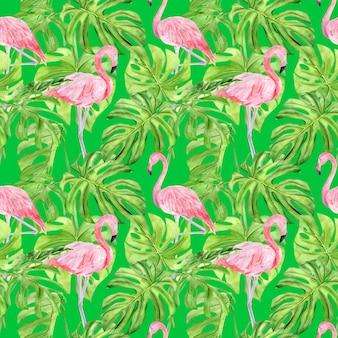 Akwarela ilustracja wzór tropikalnych liści i różowy flaming.