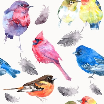 Akwarela ilustracja z ptakiem. bez szwu tekstury akwarela.