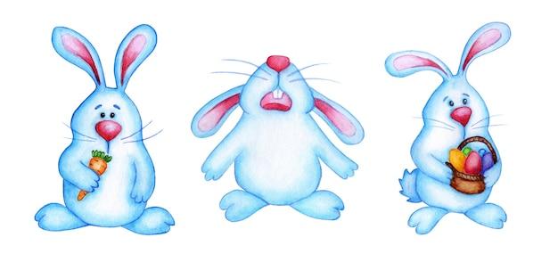 Akwarela ilustracja zestaw królików wielkanocnych niebieski. kreskówka zające rysunek dla dzieci. wielkanoc, tradycja, religia. na białym tle. rysowane ręcznie.