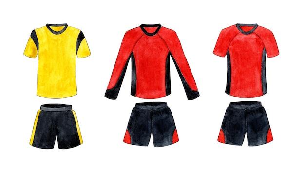 Akwarela ilustracja zestaw mundurów piłkarskich czerwonych i żółtych z czarnym zestaw odzieży sportowej