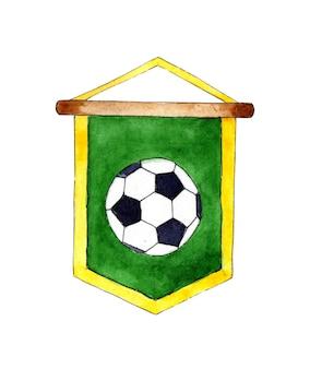 Akwarela ilustracja zielony proporczyk piłki nożnej z piłką na nim godło nagrody banner banner