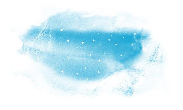 Akwarela ilustracja zimowego nieba i śniegu.