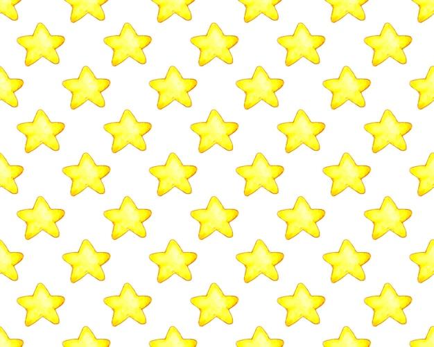 Akwarela ilustracje ciał niebieskich bezszwowe powtarzające się tło z ręcznie rysowanymi gwiazdami