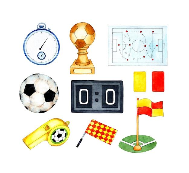Akwarela ilustracje stopera z piłką nożną stoper z czerwoną i żółtą kartą gwizdek flagi