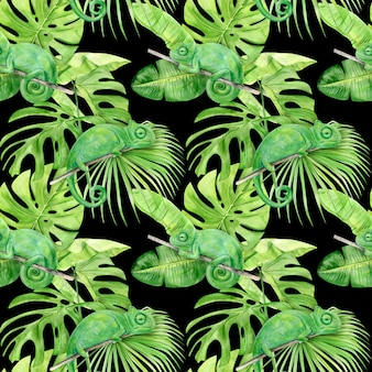 Akwarela ilustracyjny bezszwowy wzór tropikalni liście i kameleon.