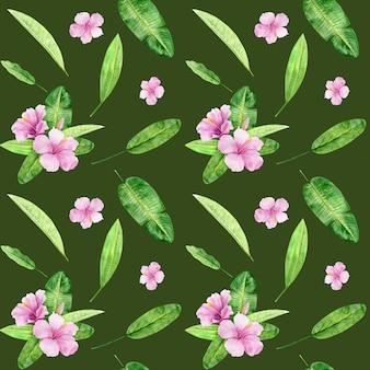 Akwarela ilustracyjny bezszwowy wzór tropikalni liście i kwiatu poślubnik