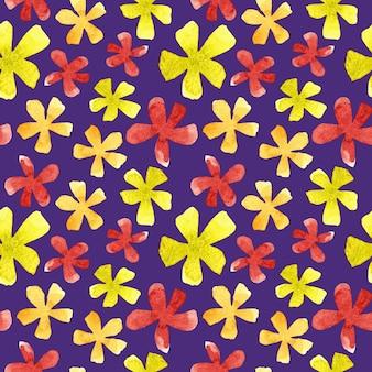 Akwarela jasne kwiaty wzór na fioletowym tle. czerwony, pomarańczowy i zielony nadruk botaniczny na tekstylia, tkaniny, tapety, papier pakowy i dekoracje.