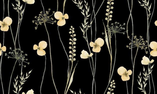 Akwarela jasnożółty wzór kwiatów na białym tle na czarnym tle