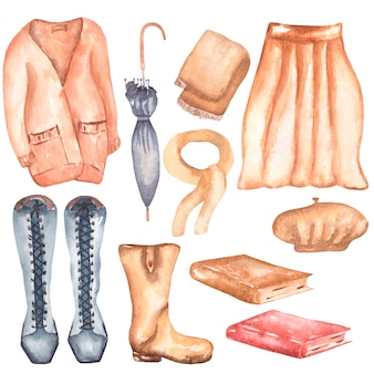 Akwarela jesień clothers clipart