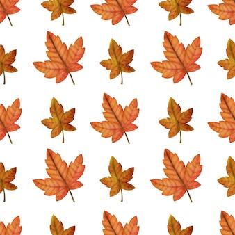 Akwarela jesień klon bezszwowe wzory
