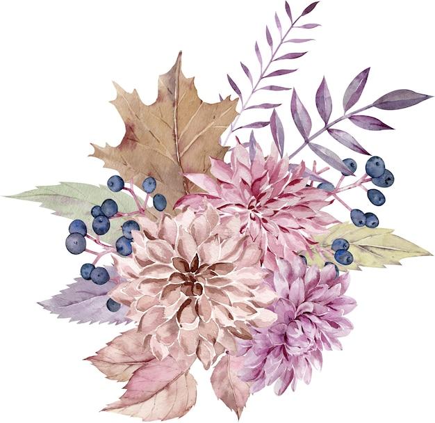 Akwarela jesień kwiatowy bukiet.