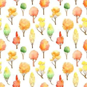 Akwarela jesień las wzór. spadek kolory na białym tle.